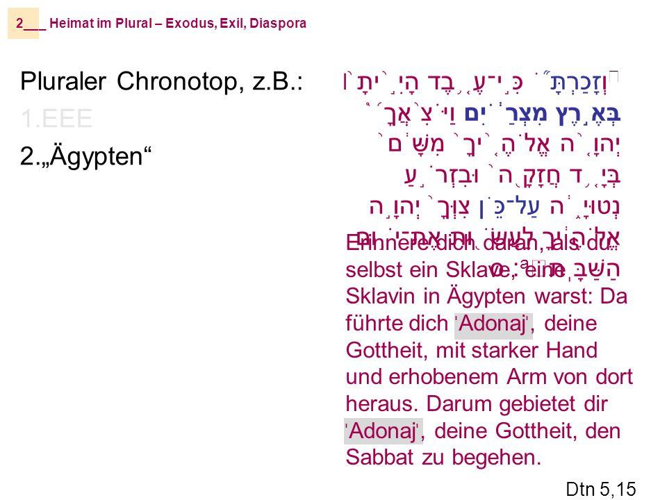 וְזָכַרְתָּ ֞֗ כִּ ֣ י־עֶ ֤֥ בֶד הָיִ ֣֨ יתָ ֙ ׀ בְּאֶ ֣ רֶץ מִצְרַ ֔֗ יִם וַיֹּצִ ֨ אֲךָ ֜֩ יְהוָ ֤֨ ה אֱלֹהֶ ֤֨ יךָ ֙ מִשָּׁ ֔ ם ֙ בְּיָ ֤֥ ד חֲזָקָ ֖ ה ֙ וּבִזְרֹ ֣ עַ נְטוּיָ ֑֔ ה עַל־כֵּ ֗ ן צִוְּךָ ֙ יְהוָ ֣ ה אֱלֹהֶ ֔ יךָ לַעֲשֹׂ ֖ ות אֶת־יֹ ֥ ום הַשַּׁבָּֽת a ׃ ס _ Heimat im Plural – Exodus, Exil, Diaspora2__ Pluraler Chronotop, z.B.: 1.EEE 2.Ägypten Erinnere dich daran, als du selbst ein Sklave, eine Sklavin in Ägypten warst: Da führte dich י Adonaj י, deine Gottheit, mit starker Hand und erhobenem Arm von dort heraus.