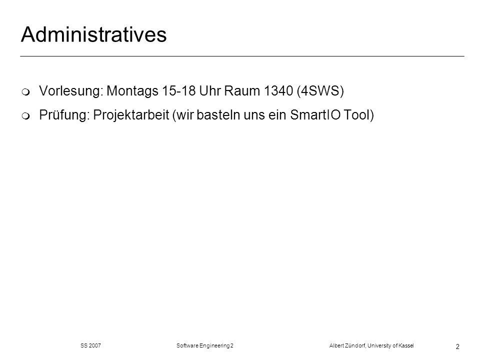 SS 2007 Software Engineering 2 Albert Zündorf, University of Kassel 23 Unparsing Summary m