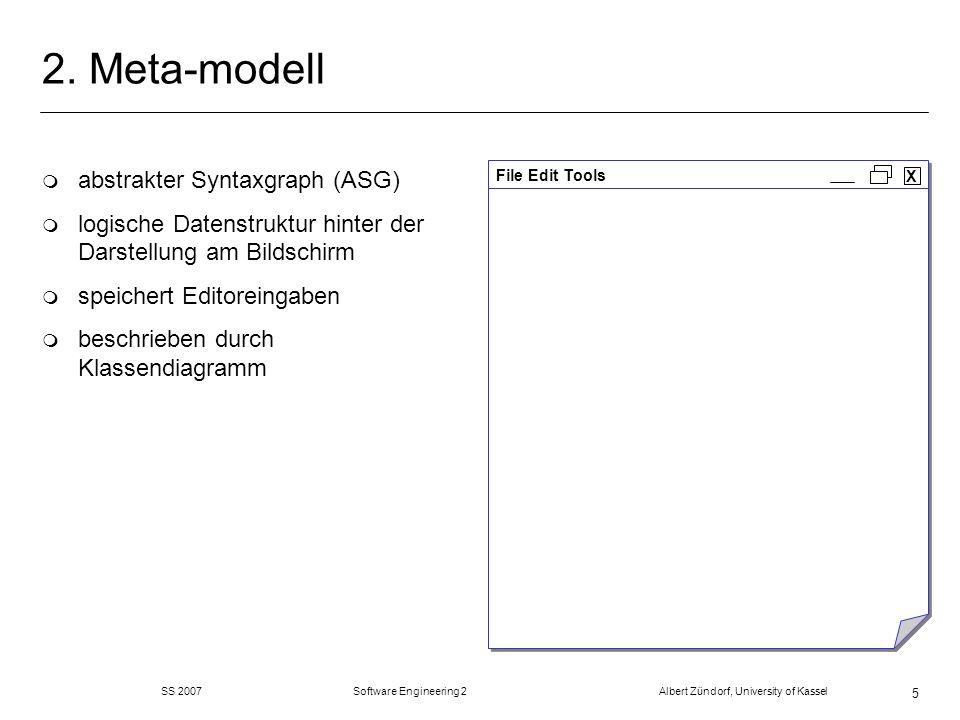 SS 2007 Software Engineering 2 Albert Zündorf, University of Kassel 56 Code Generierung Mehrere Alternativen: m Visitor der das Metamodell durchläuft und Strings in eine Datei schreibt.