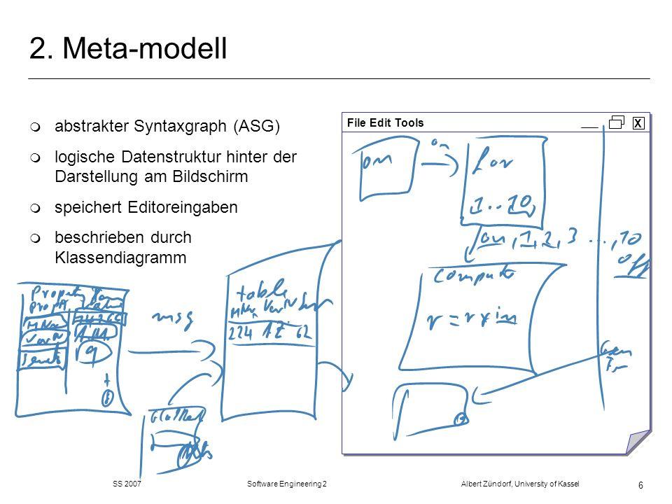 SS 2007 Software Engineering 2 Albert Zündorf, University of Kassel 47 Refactorings: merge Transitions m fasse zwei Transitionen zu einer zusammen m name der ersten m Java Code von beiden hintereinander m In Stellen von beiden m Out Stellen von beiden