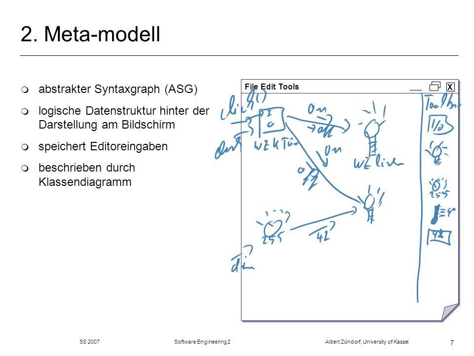 SS 2007 Software Engineering 2 Albert Zündorf, University of Kassel 48 Refactorings: merge Places m fasse zwei Stellen zu einer zusammen m Name der ersten m Transitionen von beiden