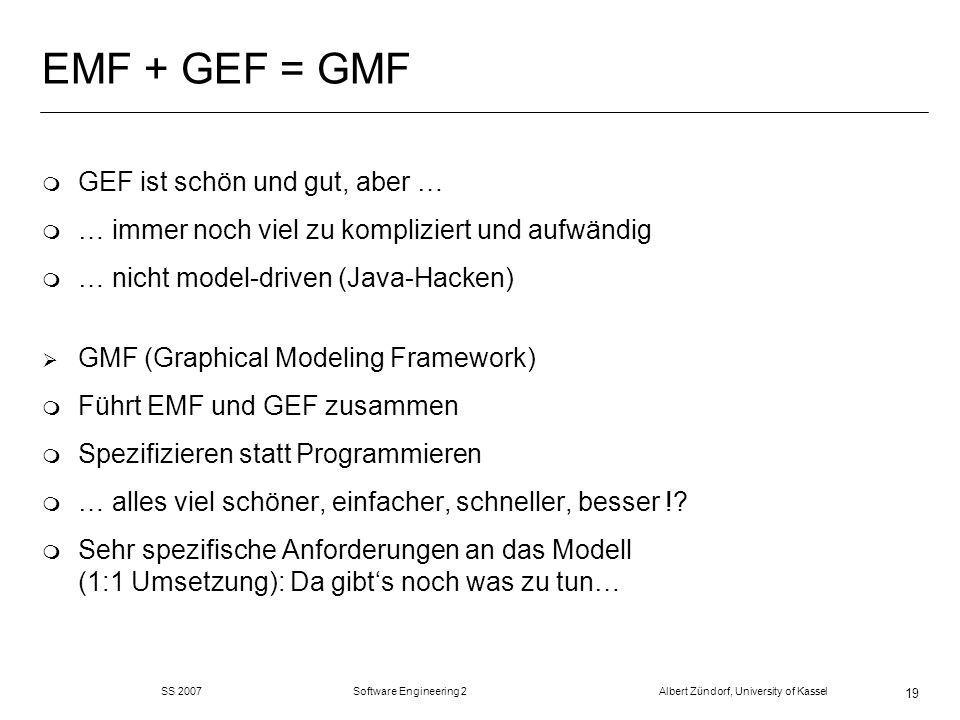 SS 2007 Software Engineering 2 Albert Zündorf, University of Kassel 19 EMF + GEF = GMF m GEF ist schön und gut, aber … m … immer noch viel zu kompliziert und aufwändig m … nicht model-driven (Java-Hacken) GMF (Graphical Modeling Framework) m Führt EMF und GEF zusammen m Spezifizieren statt Programmieren m … alles viel schöner, einfacher, schneller, besser !.