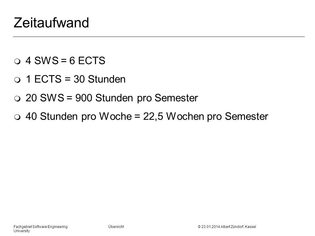 Zeitaufwand m 4 SWS = 6 ECTS m 1 ECTS = 30 Stunden m 20 SWS = 900 Stunden pro Semester m 40 Stunden pro Woche = 22,5 Wochen pro Semester Fachgebiet Software Engineering Übersicht © 23.01.2014 Albert Zündorf, Kassel University