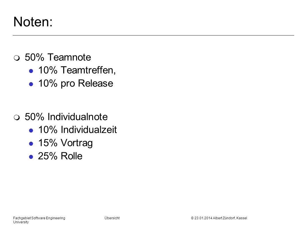 Noten: m 50% Teamnote l 10% Teamtreffen, l 10% pro Release m 50% Individualnote l 10% Individualzeit l 15% Vortrag l 25% Rolle Fachgebiet Software Engineering Übersicht © 23.01.2014 Albert Zündorf, Kassel University