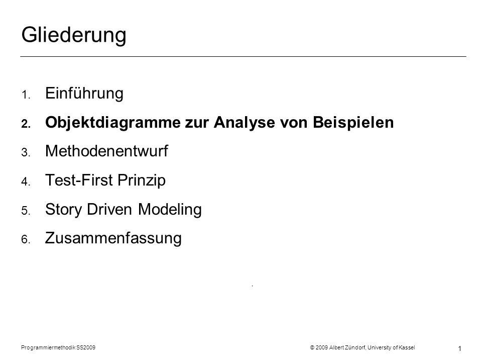 Programmiermethodik SS2009 © 2009 Albert Zündorf, University of Kassel 1 Gliederung 1. Einführung 2. Objektdiagramme zur Analyse von Beispielen 3. Met