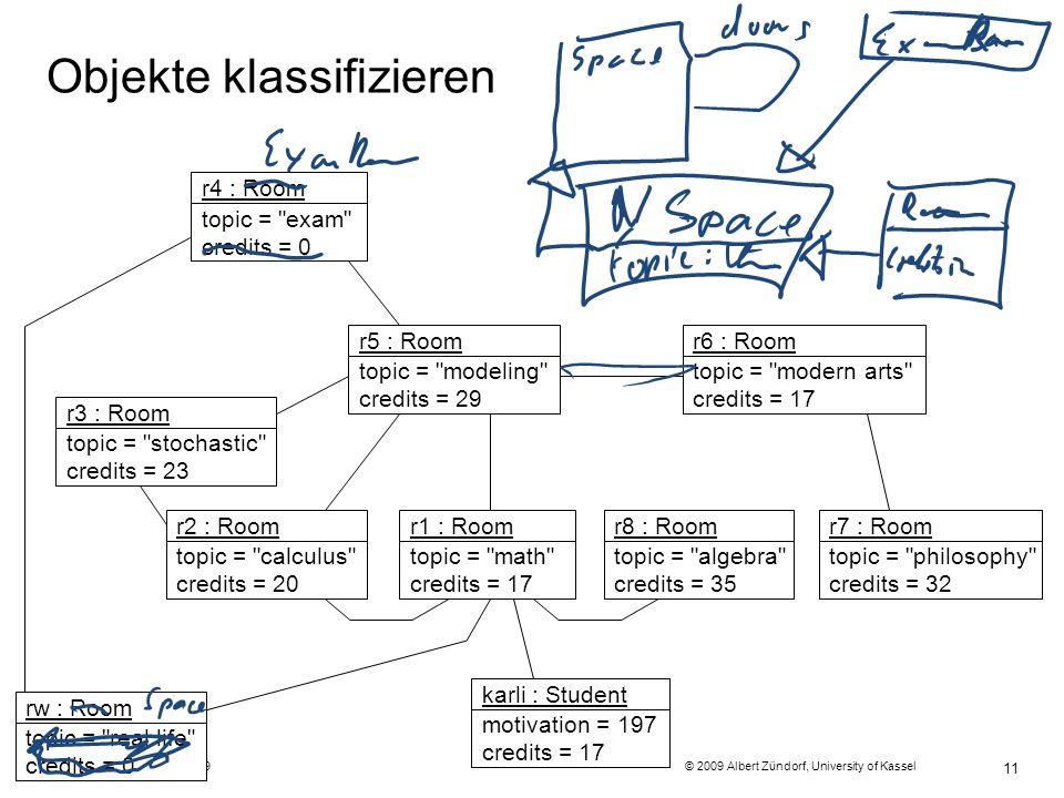 Programmiermethodik SS2009 © 2009 Albert Zündorf, University of Kassel 11 Objekte klassifizieren r4 : Room topic = exam credits = 0 r3 : Room topic = stochastic credits = 23 r2 : Room topic = calculus credits = 20 r1 : Room topic = math credits = 17 r8 : Room topic = algebra credits = 35 r7 : Room topic = philosophy credits = 32 r5 : Room topic = modeling credits = 29 r6 : Room topic = modern arts credits = 17 rw : Room topic = real life credits = 0 karli : Student motivation = 197 credits = 17