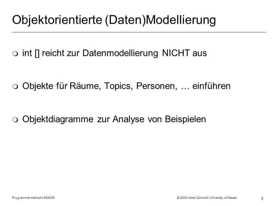 Programmiermethodik SS2009 © 2009 Albert Zündorf, University of Kassel 5 Objektorientierte (Daten)Modellierung m int [] reicht zur Datenmodellierung NICHT aus m Objekte für Räume, Topics, Personen, … einführen m Objektdiagramme zur Analyse von Beispielen