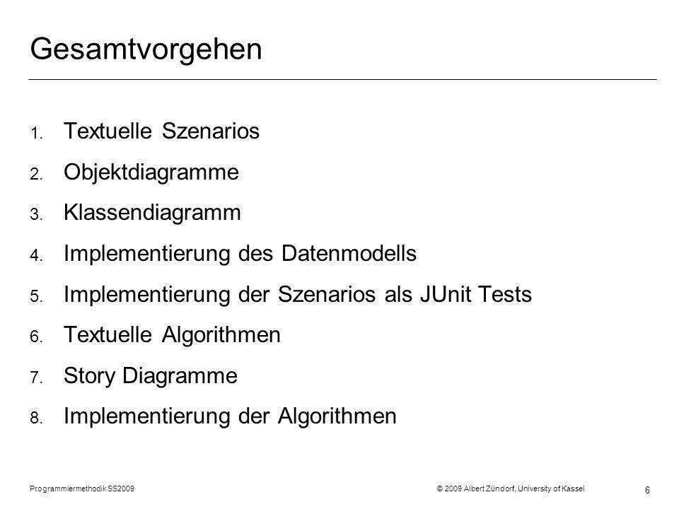 Programmiermethodik SS2009 © 2009 Albert Zündorf, University of Kassel 6 Gesamtvorgehen 1.
