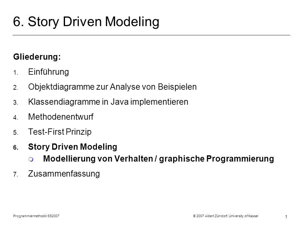 Programmiermethodik SS2007 © 2007 Albert Zündorf, University of Kassel 1 6. Story Driven Modeling Gliederung: 1. Einführung 2. Objektdiagramme zur Ana