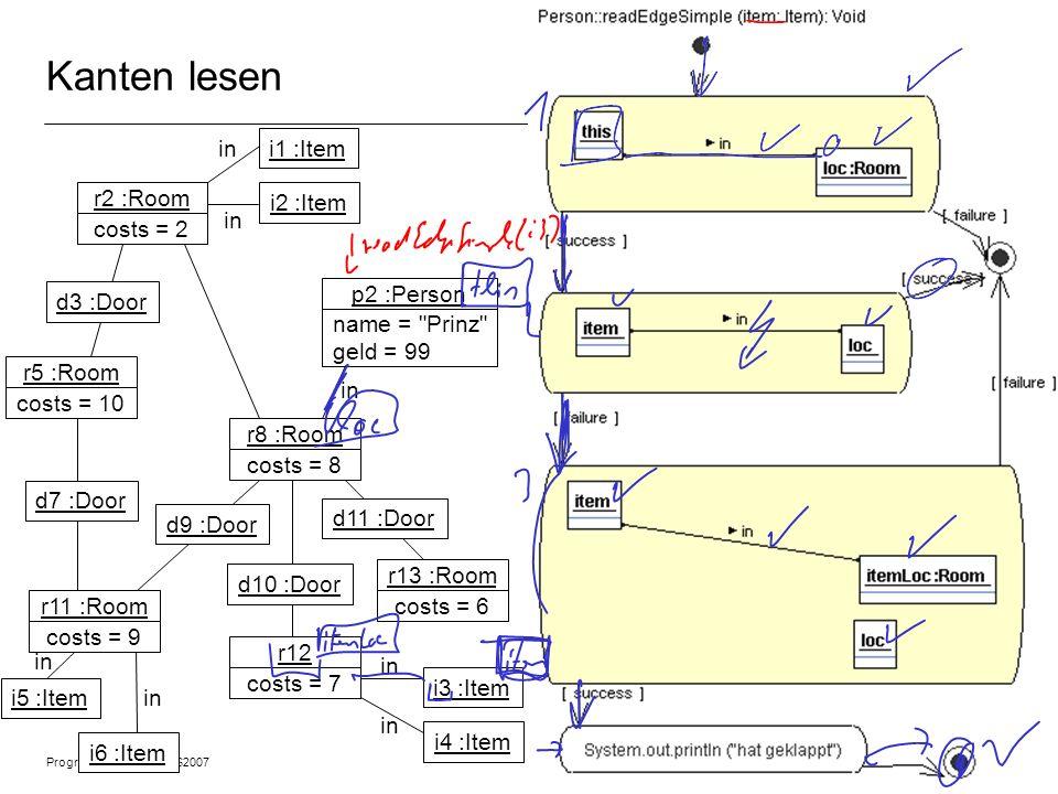 Programmiermethodik SS2007 © 2007 Albert Zündorf, University of Kassel 12 Kanten lesen r2 :Room costs = 2 r5 :Room costs = 10 r11 :Room costs = 9 r8 :