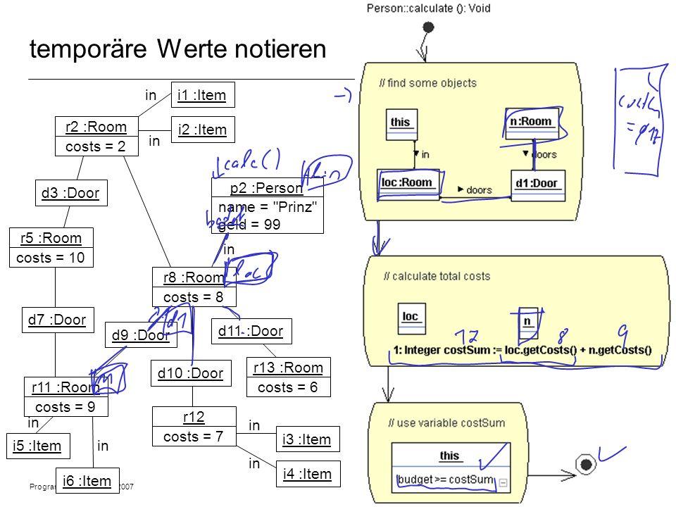 Programmiermethodik SS2007 © 2007 Albert Zündorf, University of Kassel 14 temporäre Werte notieren r2 :Room costs = 2 r5 :Room costs = 10 r11 :Room costs = 9 r8 :Room costs = 8 r12 costs = 7 r13 :Room costs = 6 p2 :Person name = Prinz geld = 99 d3 :Door i1 :Item d11 :Door d10 :Door d9 :Door d7 :Door in i2 :Item i5 :Item i6 :Item i3 :Item i4 :Item in