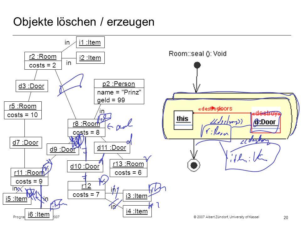 Programmiermethodik SS2007 © 2007 Albert Zündorf, University of Kassel 20 Objekte löschen / erzeugen r2 :Room costs = 2 r5 :Room costs = 10 r11 :Room costs = 9 r8 :Room costs = 8 r12 costs = 7 r13 :Room costs = 6 p2 :Person name = Prinz geld = 99 d3 :Door i1 :Item d11 :Door d10 :Door d9 :Door d7 :Door in i2 :Item i5 :Item i6 :Item i3 :Item i4 :Item in