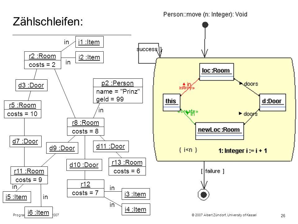 Programmiermethodik SS2007 © 2007 Albert Zündorf, University of Kassel 26 Zählschleifen: r2 :Room costs = 2 r5 :Room costs = 10 r11 :Room costs = 9 r8 :Room costs = 8 r12 costs = 7 r13 :Room costs = 6 p2 :Person name = Prinz geld = 99 d3 :Door i1 :Item d11 :Door d10 :Door d9 :Door d7 :Door in i2 :Item i5 :Item i6 :Item i3 :Item i4 :Item in