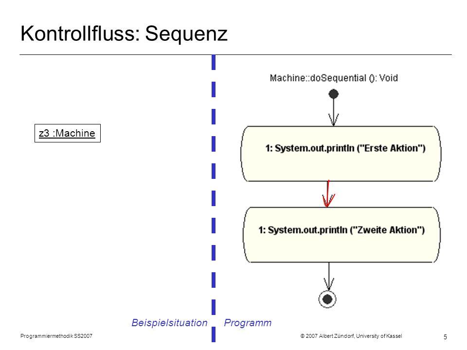 Programmiermethodik SS2007 © 2007 Albert Zündorf, University of Kassel 6 Kontrollfluss: Fallunterscheidung Beispielsituation Programm z4 :Machine
