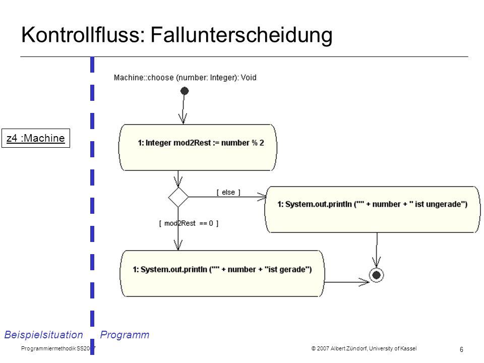 Programmiermethodik SS2007 © 2007 Albert Zündorf, University of Kassel 7 Kontrollfluss: Fallunterscheidung Beispielsituation Programm z4 :Machine