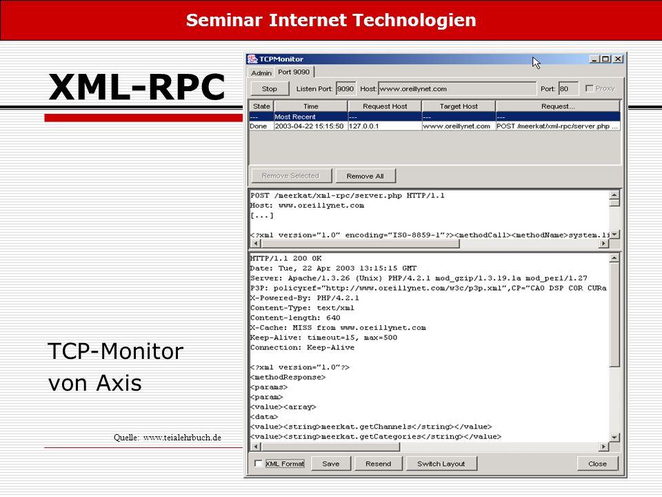 16 XML-RPC TCP-Monitor von Axis Seminar Internet Technologien Quelle: www.teialehrbuch.de
