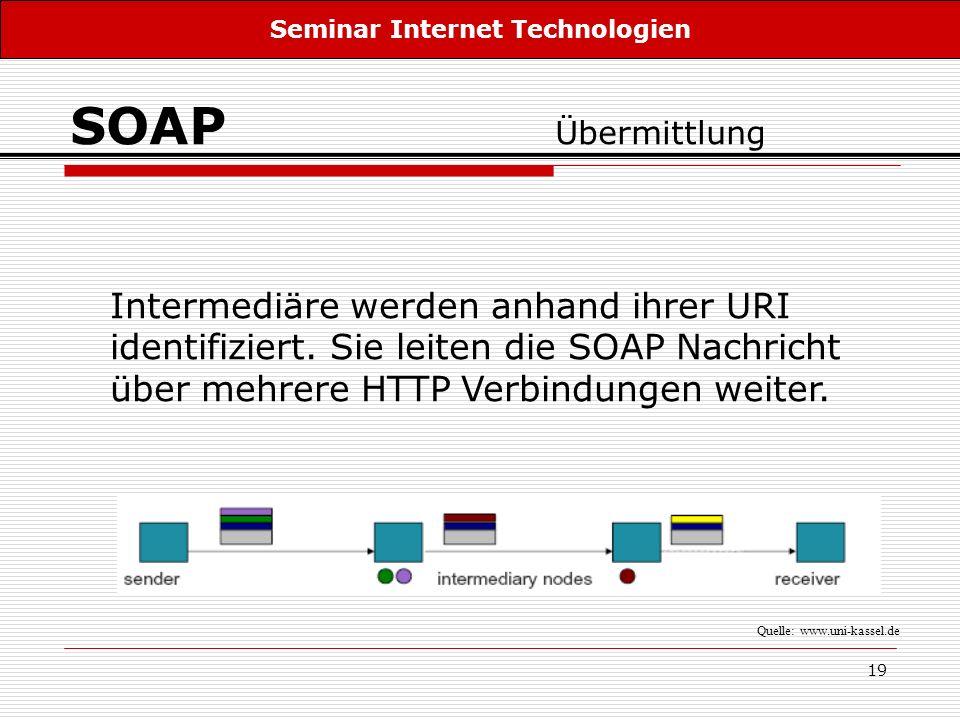 19 SOAP Übermittlung Intermediäre werden anhand ihrer URI identifiziert. Sie leiten die SOAP Nachricht über mehrere HTTP Verbindungen weiter. Seminar