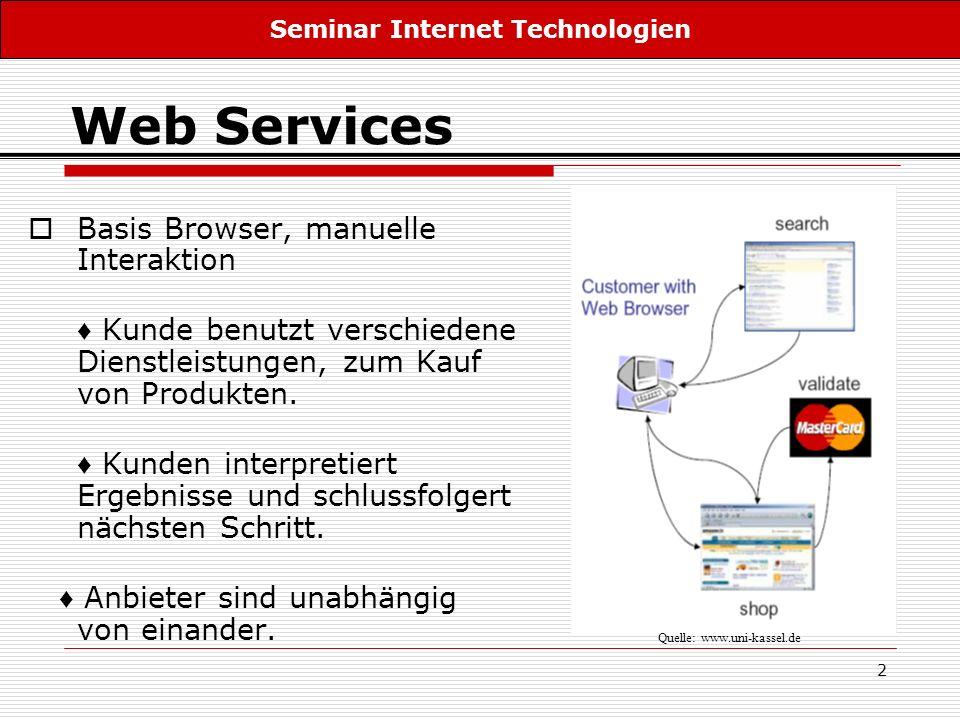 2 Web Services Basis Browser, manuelle Interaktion Kunde benutzt verschiedene Dienstleistungen, zum Kauf von Produkten. Kunden interpretiert Ergebniss