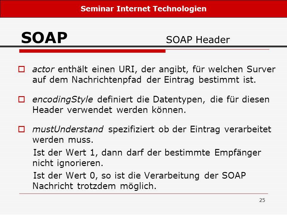 25 SOAP SOAP Header actor enthält einen URI, der angibt, für welchen Surver auf dem Nachrichtenpfad der Eintrag bestimmt ist. encodingStyle definiert
