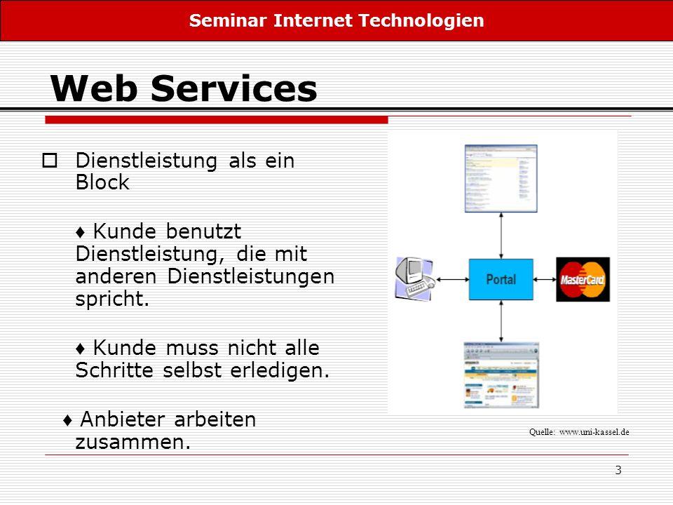 3 Web Services Dienstleistung als ein Block Kunde benutzt Dienstleistung, die mit anderen Dienstleistungen spricht. Kunde muss nicht alle Schritte sel