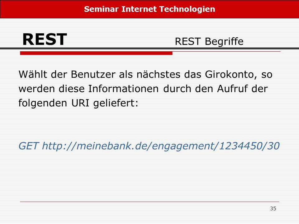 35 REST REST Begriffe Wählt der Benutzer als nächstes das Girokonto, so werden diese Informationen durch den Aufruf der folgenden URI geliefert: GET h
