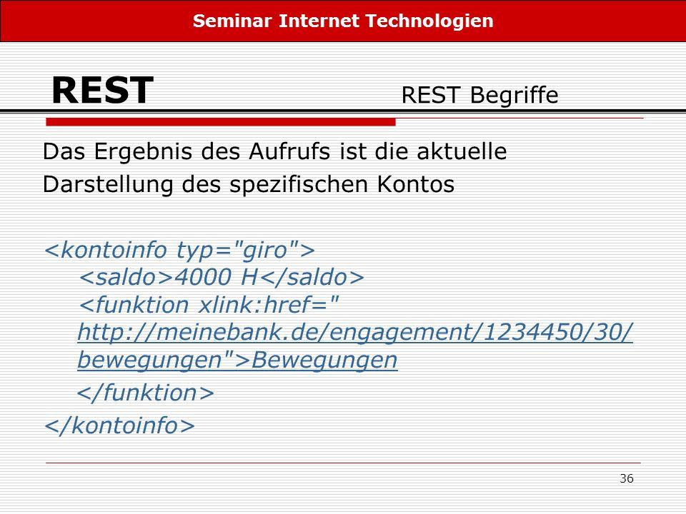 36 REST REST Begriffe Das Ergebnis des Aufrufs ist die aktuelle Darstellung des spezifischen Kontos 4000 H Bewegungen http://meinebank.de/engagement/1
