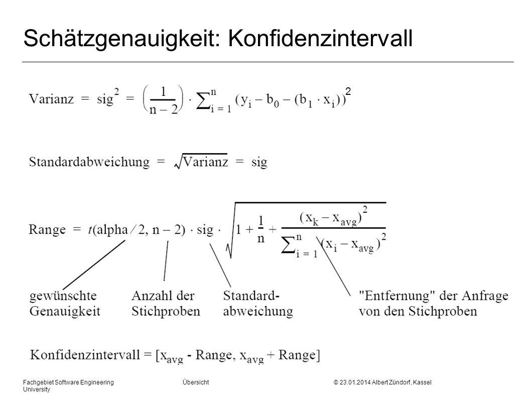 Fachgebiet Software Engineering Übersicht © 23.01.2014 Albert Zündorf, Kassel University Schätzgenauigkeit: Konfidenzintervall 2