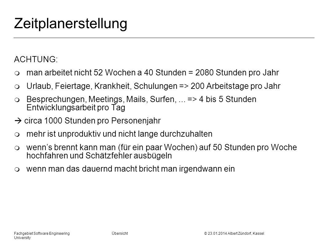 Fachgebiet Software Engineering Übersicht © 23.01.2014 Albert Zündorf, Kassel University Zeitplanerstellung ACHTUNG: m man arbeitet nicht 52 Wochen a