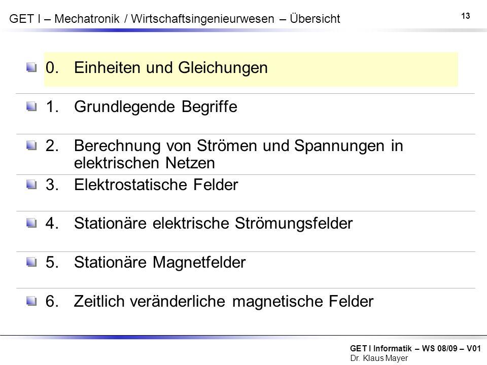 GET I Informatik – WS 08/09 – V01 Dr. Klaus Mayer GET I – Mechatronik / Wirtschaftsingenieurwesen – Übersicht 0. Einheiten und Gleichungen 1. Grundleg