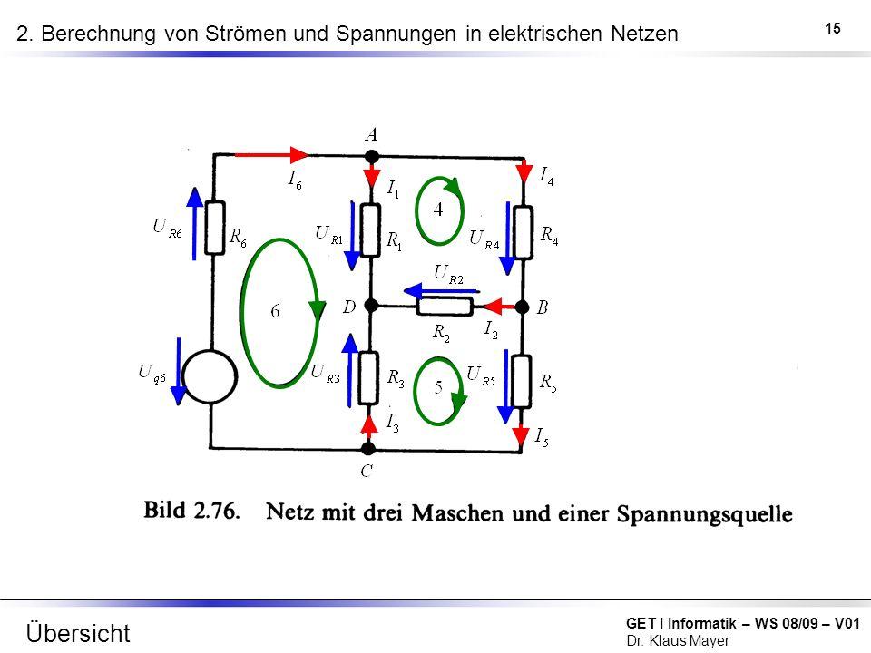 GET I Informatik – WS 08/09 – V01 Dr. Klaus Mayer 2. Berechnung von Strömen und Spannungen in elektrischen Netzen 15 Übersicht