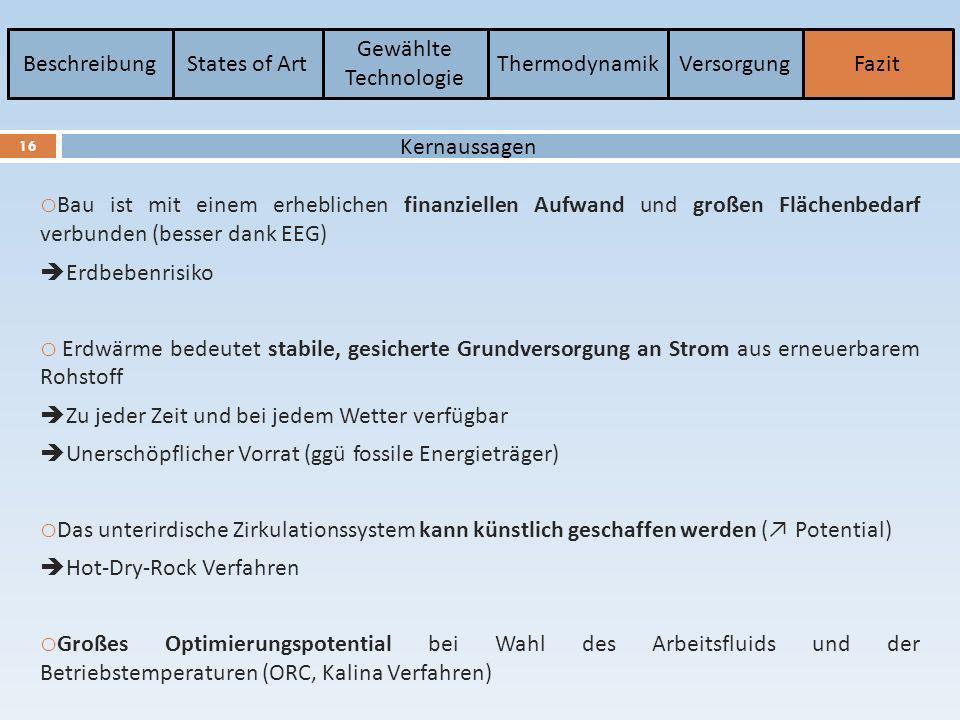 BeschreibungStates of Art Gewählte Technologie ThermodynamikVersorgungFazit 16 Kernaussagen o Bau ist mit einem erheblichen finanziellen Aufwand und g