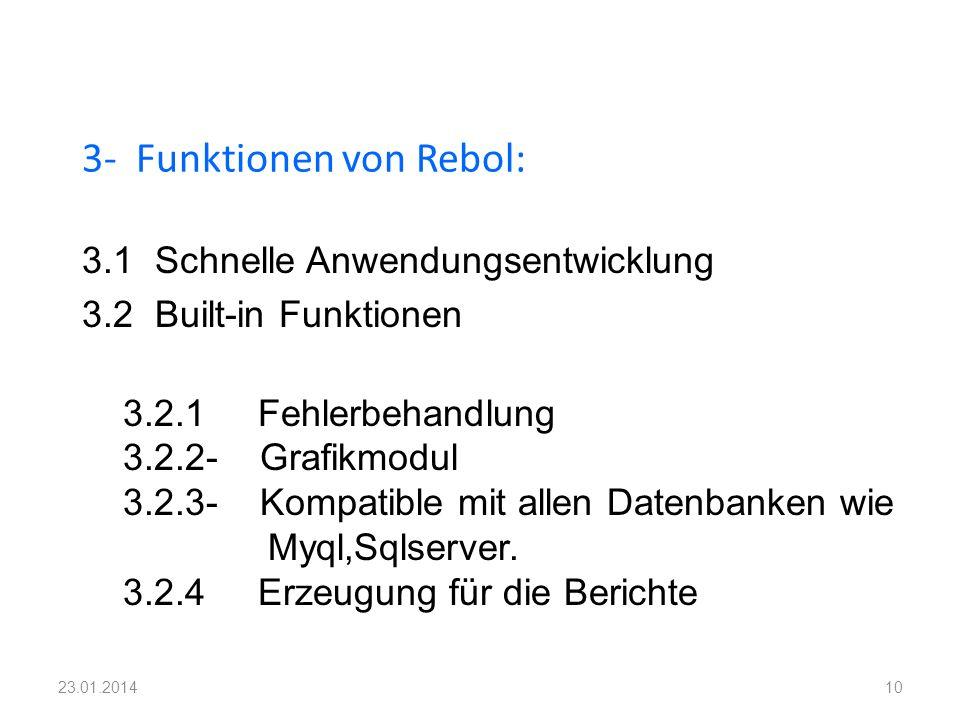 3- Funktionen von Rebol: 10 3.1 Schnelle Anwendungsentwicklung 3.2 Built-in Funktionen 3.2.1 Fehlerbehandlung 3.2.2- Grafikmodul 3.2.3- Kompatible mit