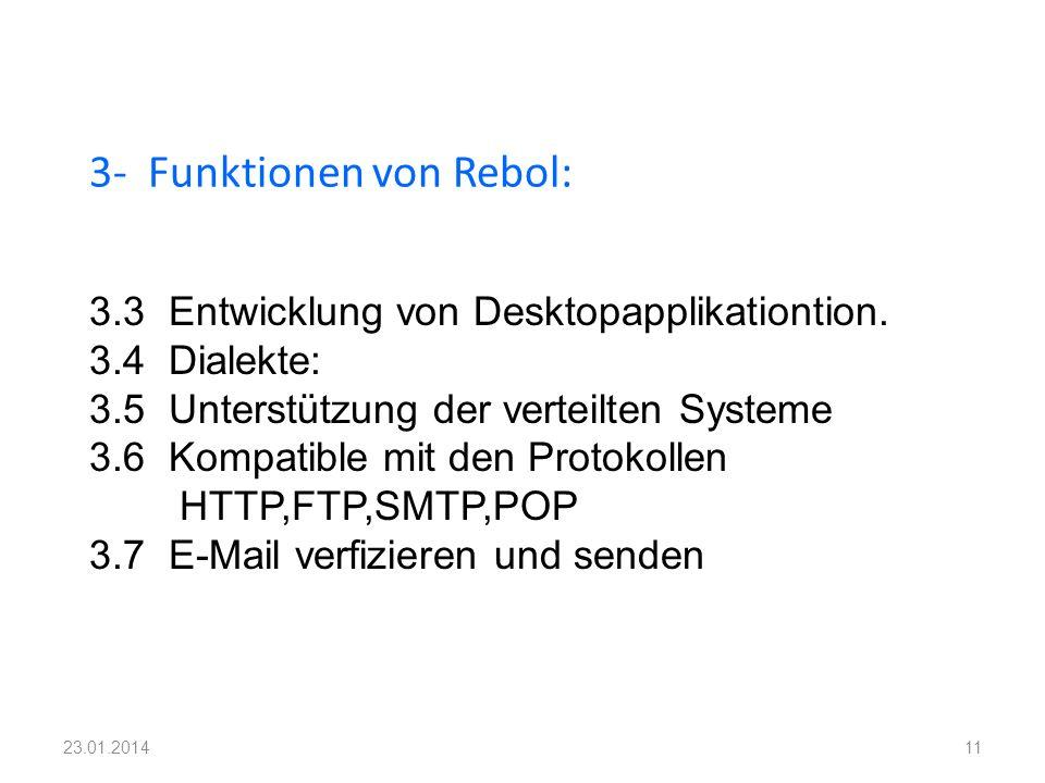 3- Funktionen von Rebol: 11 3.3 Entwicklung von Desktopapplikationtion. 3.4 Dialekte: 3.5 Unterstützung der verteilten Systeme 3.6 Kompatible mit den