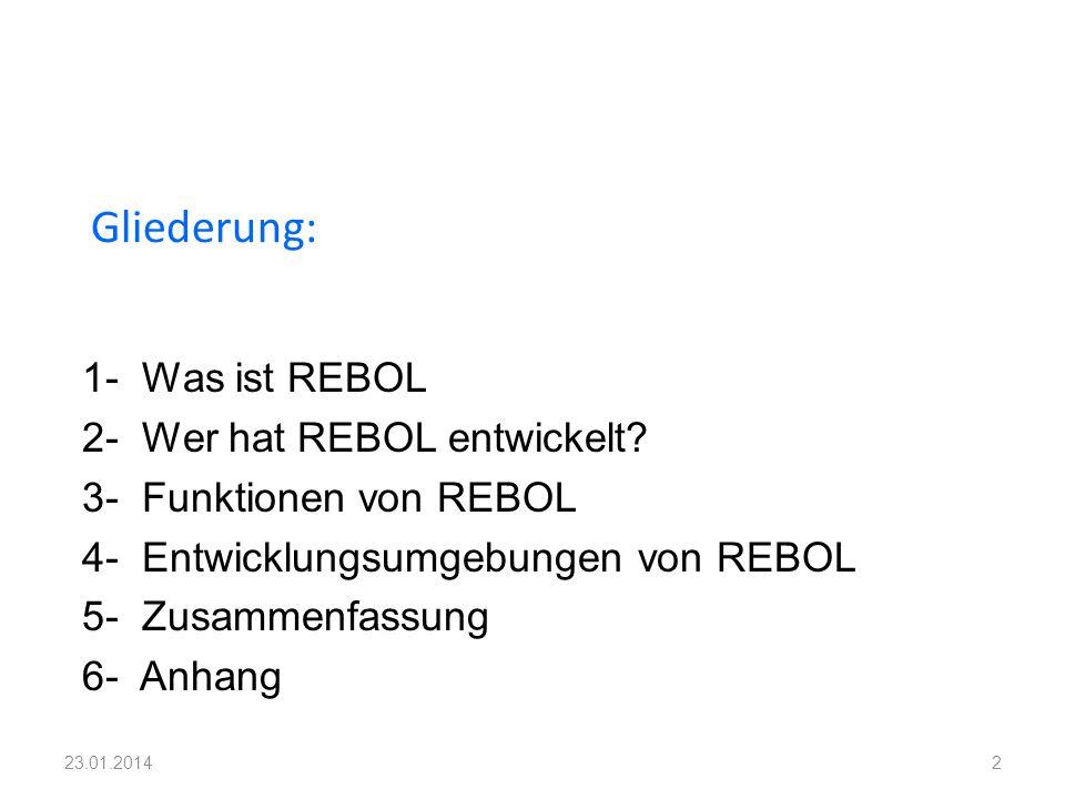 1- Was ist REBOL 2- Wer hat REBOL entwickelt? 3- Funktionen von REBOL 4- Entwicklungsumgebungen von REBOL 5- Zusammenfassung 6- Anhang Gliederung: 223