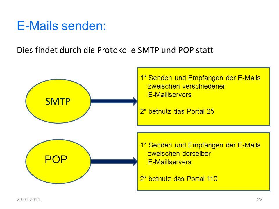 Dies findet durch die Protokolle SMTP und POP statt 22 E-Mails senden: SMTP POP 1* Senden und Empfangen der E-Mails zweischen verschiedener E-Maillser