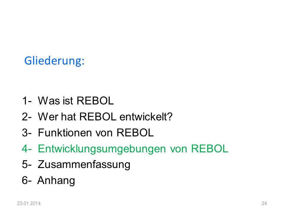 1- Was ist REBOL 2- Wer hat REBOL entwickelt? 3- Funktionen von REBOL 4- Entwicklungsumgebungen von REBOL 5- Zusammenfassung 6- Anhang Gliederung: 242