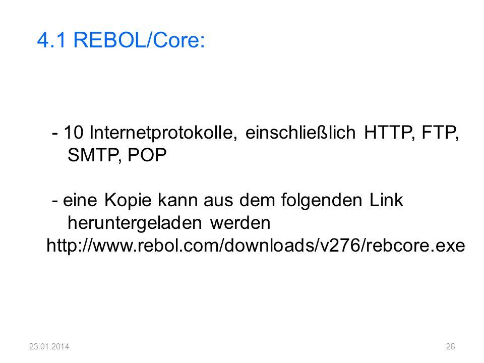 - 10 Internetprotokolle, einschließlich HTTP, FTP, SMTP, POP - eine Kopie kann aus dem folgenden Link heruntergeladen werden http://www.rebol.com/down
