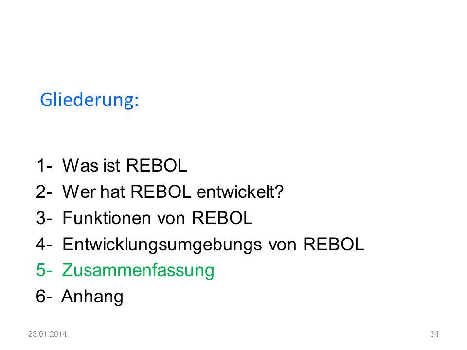 1- Was ist REBOL 2- Wer hat REBOL entwickelt? 3- Funktionen von REBOL 4- Entwicklungsumgebungs von REBOL 5- Zusammenfassung 6- Anhang Gliederung: 3423