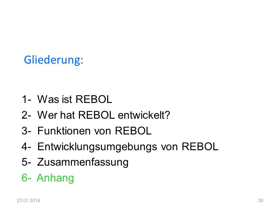 1- Was ist REBOL 2- Wer hat REBOL entwickelt? 3- Funktionen von REBOL 4- Entwicklungsumgebungs von REBOL 5- Zusammenfassung 6- Anhang Gliederung: 3623