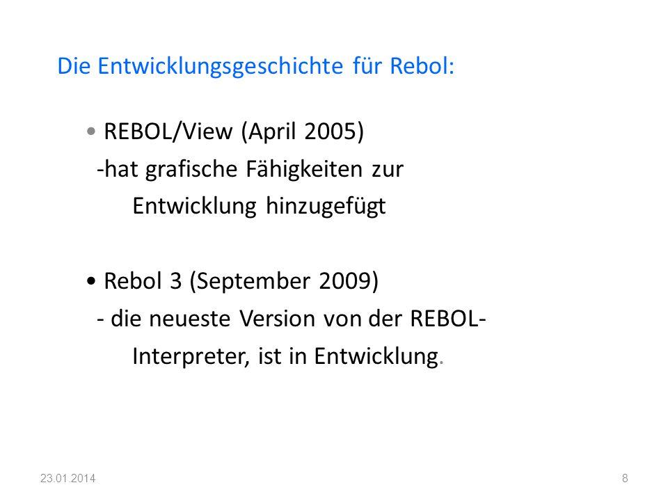 Die Entwicklungsgeschichte für Rebol: REBOL/View (April 2005) -hat grafische Fähigkeiten zur Entwicklung hinzugefügt Rebol 3 (September 2009) - die ne