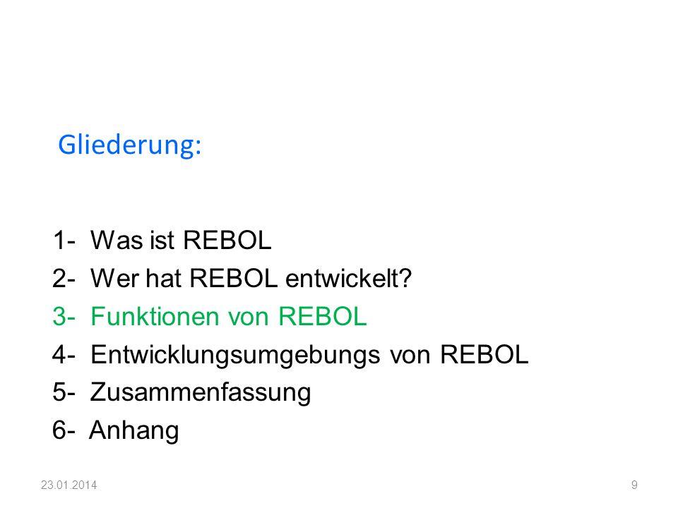 1- Was ist REBOL 2- Wer hat REBOL entwickelt? 3- Funktionen von REBOL 4- Entwicklungsumgebungs von REBOL 5- Zusammenfassung 6- Anhang Gliederung: 923.