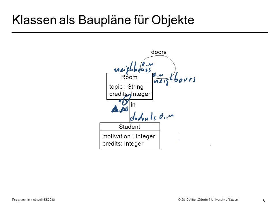 Programmiermethodik SS2010 © 2010 Albert Zündorf, University of Kassel 17 Syntax von Objektdiagrammen:
