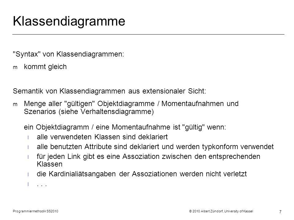 Programmiermethodik SS2010 © 2010 Albert Zündorf, University of Kassel 8 Implementierung: public class Room { } Room … Room r = new Room (); … r = new Room (); … :Room Struktur DatenVerhalten