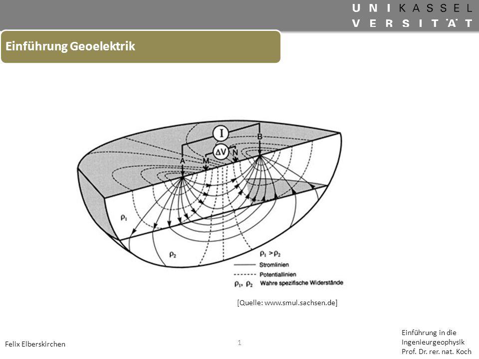 1 Einführung Geoelektrik Felix Elberskirchen Einführung in die Ingenieurgeophysik Prof. Dr. rer. nat. Koch [Quelle: www.smul.sachsen.de]