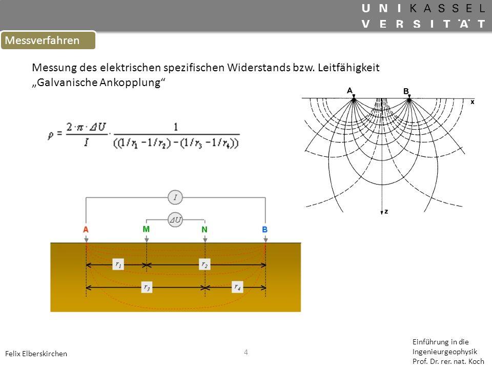 4 Messverfahren Felix Elberskirchen Einführung in die Ingenieurgeophysik Prof. Dr. rer. nat. Koch Messung des elektrischen spezifischen Widerstands bz