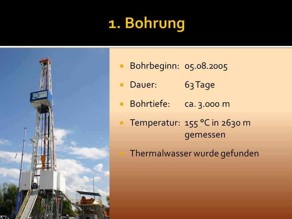 Bohrbeginn: 05.08.2005 Dauer: 63 Tage Bohrtiefe: ca. 3.000 m Temperatur: 155 °C in 2630 m gemessen Thermalwasser wurde gefunden