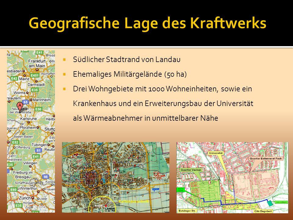 Südlicher Stadtrand von Landau Ehemaliges Militärgelände (50 ha) Drei Wohngebiete mit 1000 Wohneinheiten, sowie ein Krankenhaus und ein Erweiterungsba