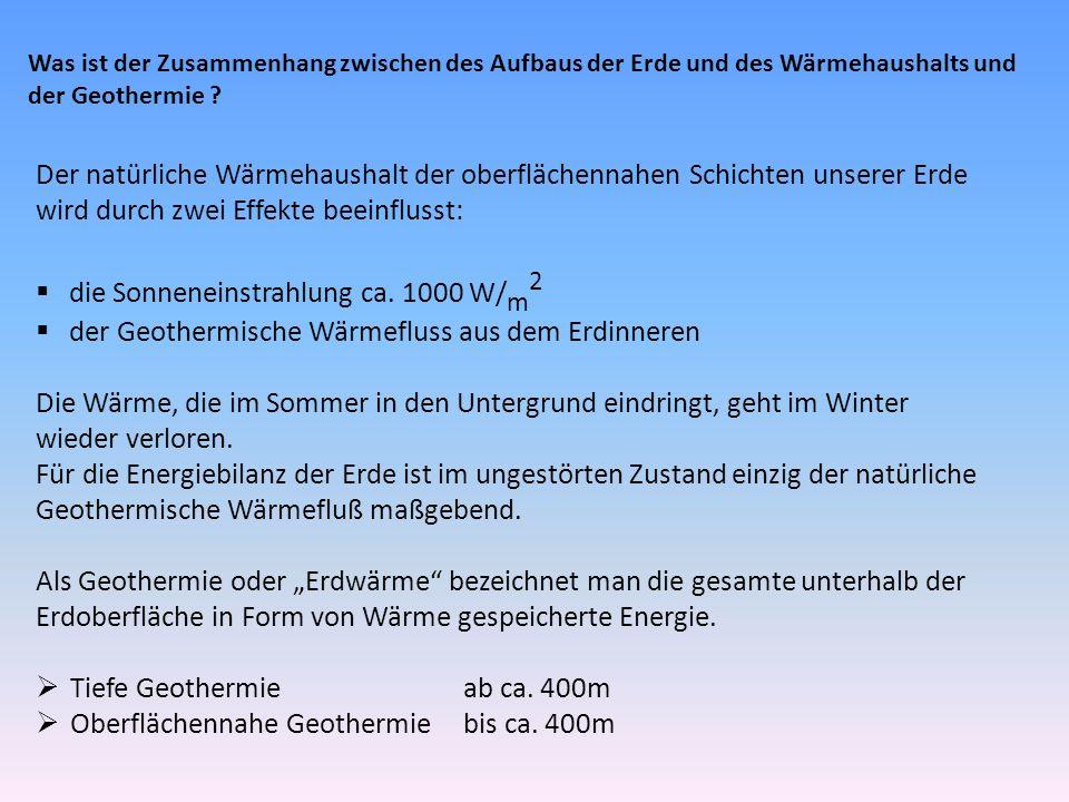 Was ist der Zusammenhang zwischen des Aufbaus der Erde und des Wärmehaushalts und der Geothermie ? Der natürliche Wärmehaushalt der oberflächennahen S