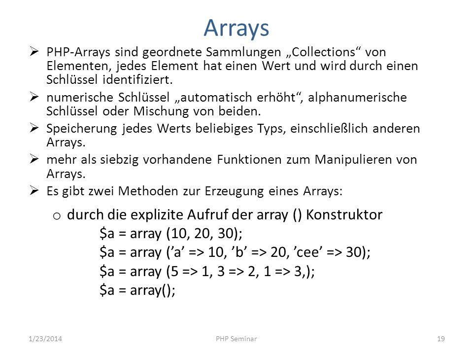 Arrays PHP-Arrays sind geordnete Sammlungen Collections von Elementen, jedes Element hat einen Wert und wird durch einen Schlüssel identifiziert. nume