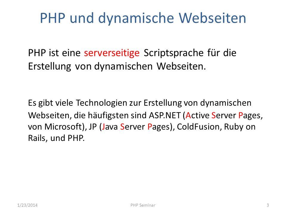 PHP und dynamische Webseiten PHP ist eine serverseitige Scriptsprache für die Erstellung von dynamischen Webseiten. Es gibt viele Technologien zur Ers